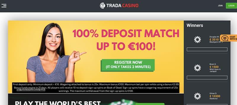 trada casino online homepage