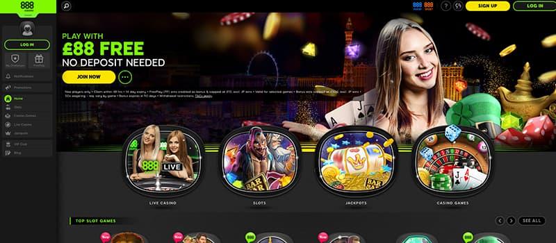 888 casino live interface