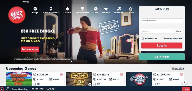 buzz bingo casino interface screenshot