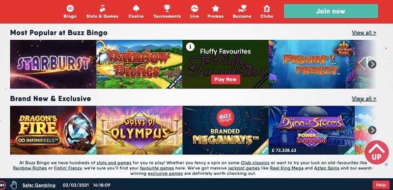 buzz bingo popular games example