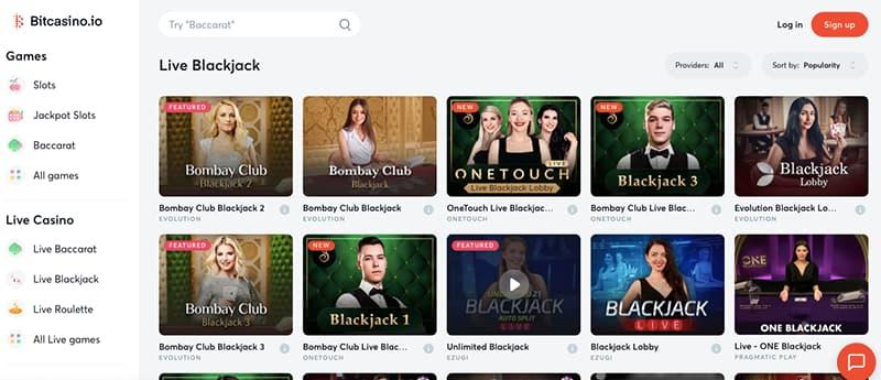 bitcasino.io screenshot games section