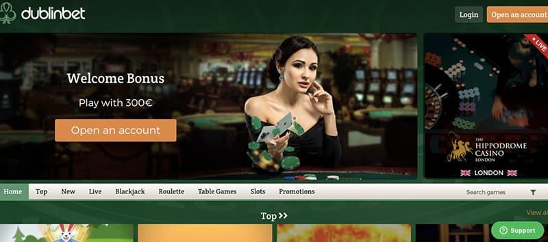 dublinbet casino interface screenshot