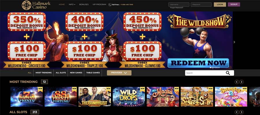 screenshot hallmark casino interface